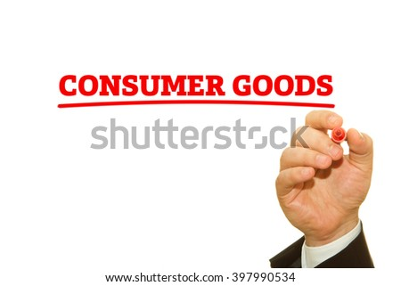 "Hand writing ""Consumer goods"" on a transparent wipe board."