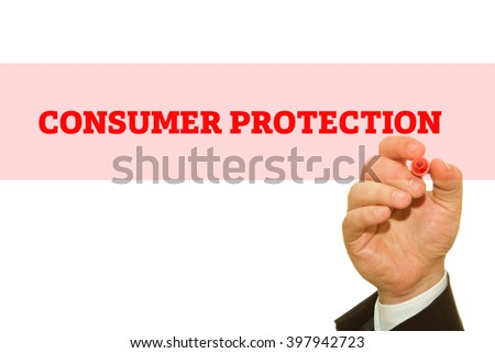 "Hand writing ""Consumer Protection"" on a transparent wipe board."
