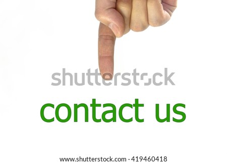 hand writing contact us on a transparent wipe board. isolated on white background - stock photo