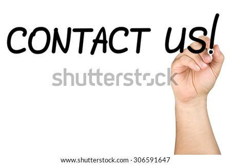 Hand writing contact us on clear glass whiteboard isolated