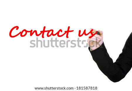 Hand writing Contact us on transparent board - stock photo