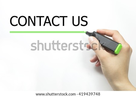 Hand writing contact us with marker. isolated on white. - stock photo