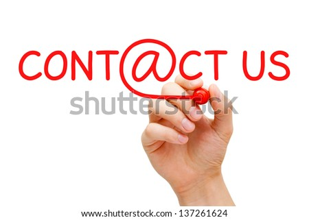 Hand writing Contact Us with red marker on transparent wipe board. - stock photo