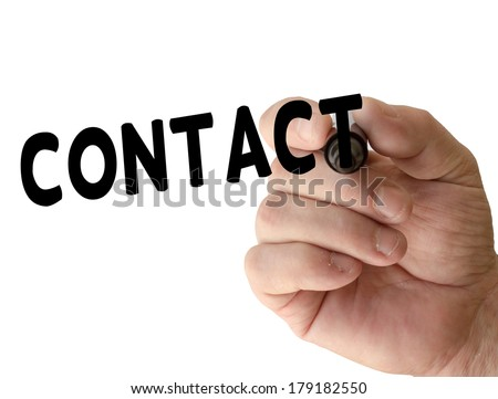 Hand writing Contact with black marker on transparent wipe board - stock photo