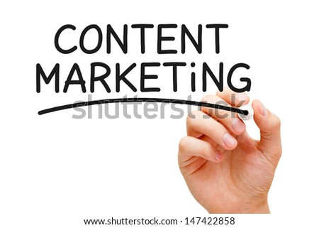 Hand writing Content Marketing with black marker on transparent wipe board. - stock photo
