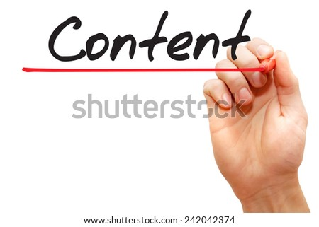 Hand writing Content with red marker, business concept - stock photo