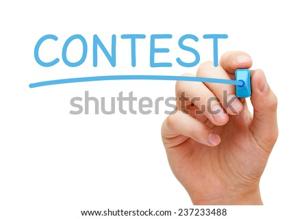 Hand writing Contest with blue marker on transparent wipe board. - stock photo