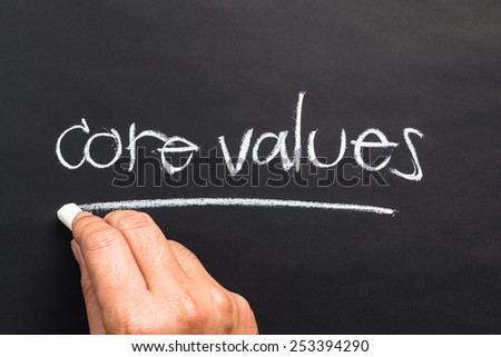 Hand writing Core Values topic with chalk