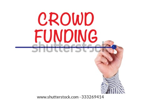 Hand Writing CROWD FUNDING with Marker on Whiteboard - stock photo
