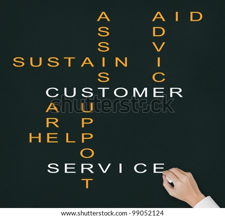 hand writing customer service concept ( assist - aid - advice - care - help - sustain - support ) crossword on chalkboard - stock photo