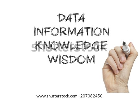 Hand writing data information knowledge wisdom on a white board - stock photo