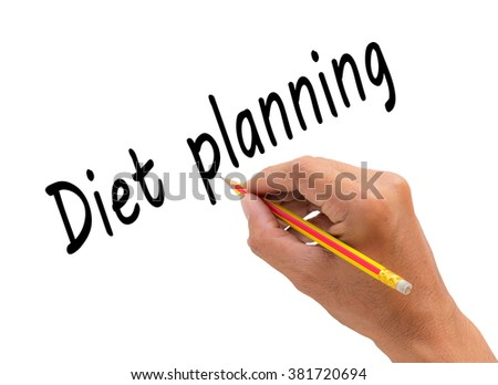Hand writing diet planning word with pencil, health concept - stock photo