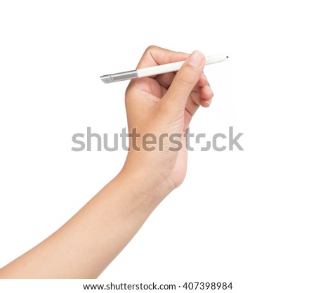 Hand writing digital stylus isolated on white background