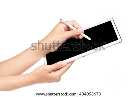 Hand writing digital stylus on the phone tablet isolated on white background