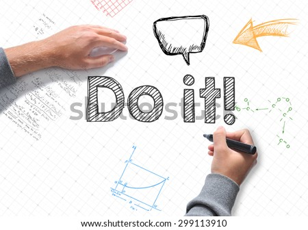Hand writing Do it word on white sheet of paper - stock photo