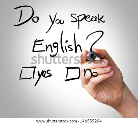 Hand writing Do You Speak English with black marker on transparent wipe board - stock photo