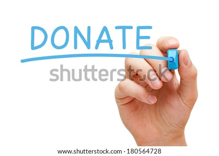 Hand writing Donate with blue marker on transparent wipe board. - stock photo