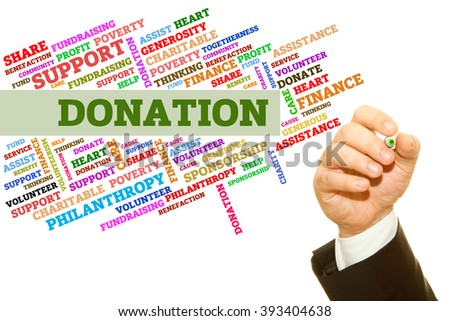 Hand writing Donation word collage on a transparent wipe board. - stock photo