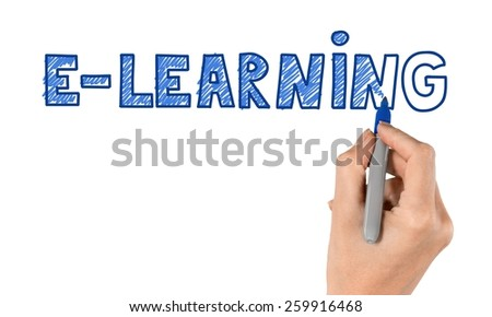 Hand writing E-learning with blue marker on transparent wipe board. - stock photo