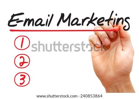Hand writing E-mail Marketing List with red marker, business concept - stock photo