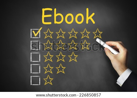 hand writing ebook on black chalkboard golden star rating