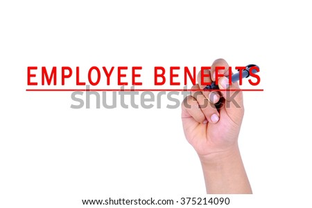 Hand writing employee benefits with marker on transparent wipe board. - stock photo