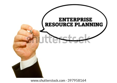 "Hand writing ""Enterprise Resource Planning"" on a transparent wipe board."