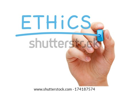 Hand writing Ethics with blue marker on transparent wipe board.