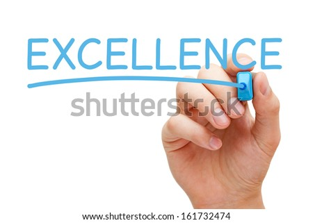 Hand writing Excellence with blue marker on transparent wipe board. - stock photo