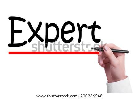 Hand writing Expert on white background - stock photo