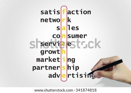 hand writing franchise   puzzle words crossword , business idea , business concept - stock photo