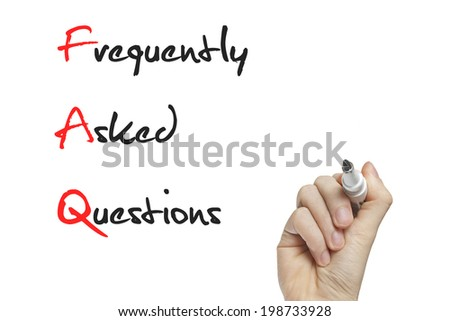Hand writing frequently asked questions on a white board - stock photo