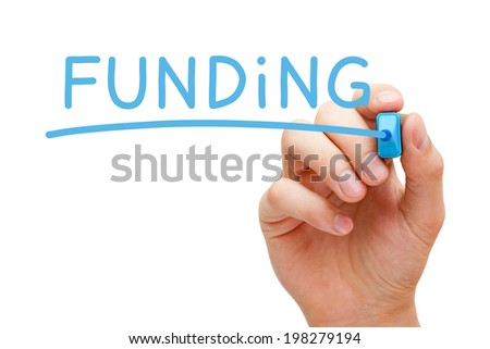 Hand writing Funding with blue marker on transparent wipe board. - stock photo