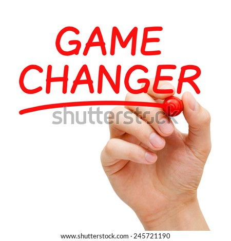Hand writing Game Changer with red marker on transparent wipe board isolated on white. - stock photo