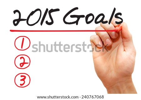 Hand writing 2015 Goals List with red marker, business concept - stock photo