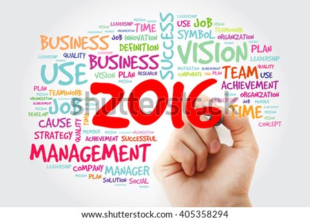 Hand writing 2016 goals plan, project word cloud, business concept background
