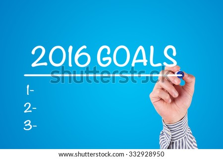 Hand Writing 2016 GOALS with Marker on Whiteboard - stock photo