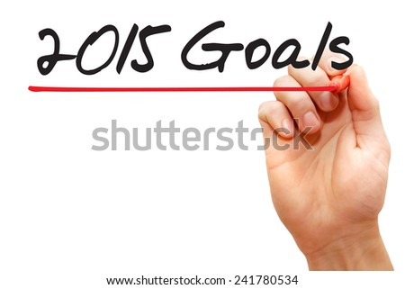 Hand writing 2015 Goals with red marker, business concept - stock photo