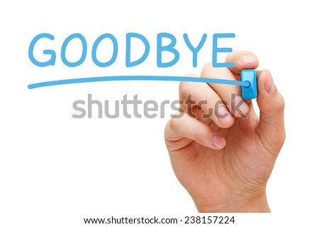 Hand writing Goodbye with blue marker on transparent wipe board isolated on white. - stock photo