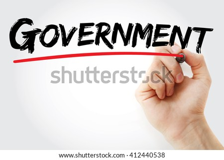 Hand writing Government with marker, business concept background - stock photo