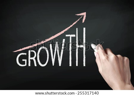 Hand writing Growth with white chalk