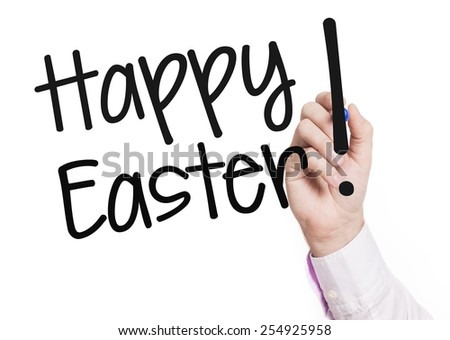 Hand writing Happy Easter. Businessman hand writing Happy Easter on glass - stock photo