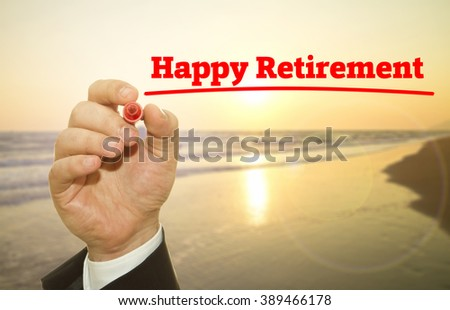 Hand writing Happy Retirement concept at sunset. - stock photo