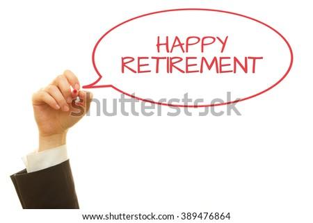 Hand writing Happy Retirement isolated on white. - stock photo