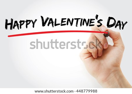 Hand writing Happy Valentines Day with marker, concept background - stock photo