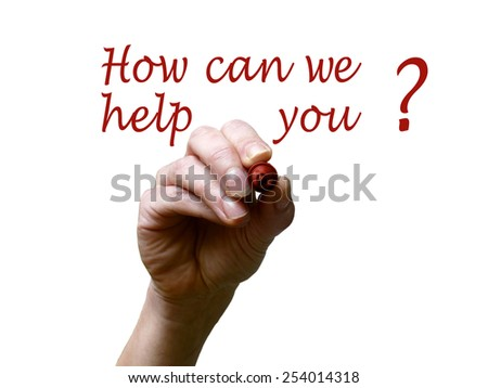 Hand writing how can we help you with red marker on transparent whiteboard - stock photo