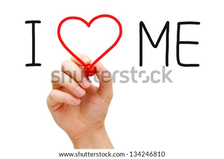 Hand writing I Love Me with red marker on transparent wipe board. - stock photo