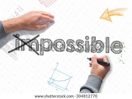 Hand writing Impossible on white sheet of paper - stock photo