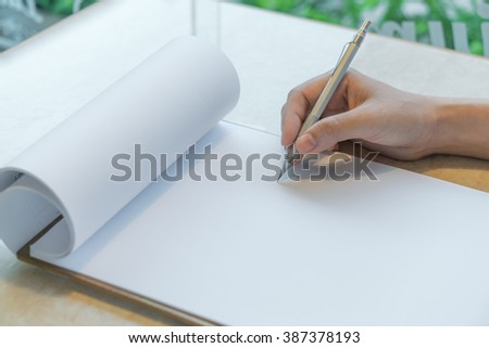 Hand writing in blank application form