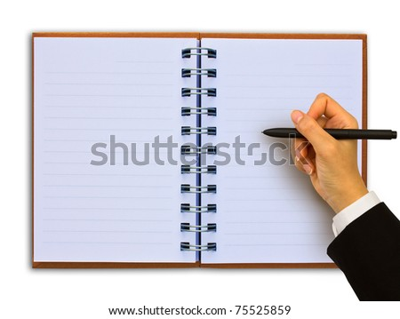 Hand writing in open notebook ,isolated on white - stock photo